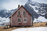 Derelict house at Vindstad, Moskenesoy, Lofoten Islands, Norway