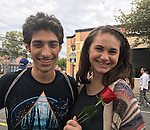 Merrick, New York, USA. 27th September 2015. ROBBIE ROSEN, an American Idol Season 10 Semi-finalist in 2011, poses with fan KATE DERWIN at the Merrick Chamber of Commerce Fall Festival on Long Island. Rosen and the teen girls are all Merrick residents.