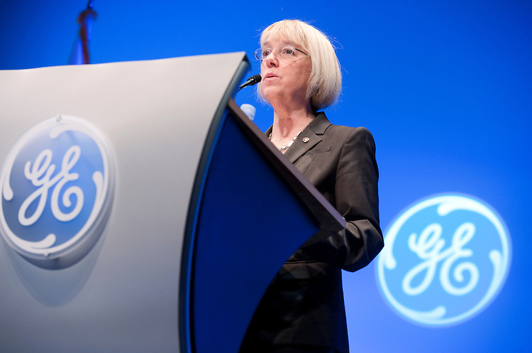 "UNITED STATES - FEBRUARY 16:  Sen. Patty Murray, D-Wash., speaks at an event at the Mellon Auditorium hosted by GE entitled ""American Competitiveness: What Works"" on manufacturing, job creation, and global competition. (Photo By Tom Williams/CQ Roll Call)"