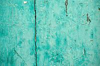 Turquoise painted door
