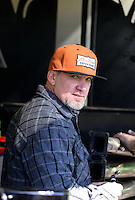 Nov. 11, 2012; Pomona, CA, USA: Television personality Jesse James in the pit area of NHRA funny car driver Alexis DeJoria (not pictured) during the Auto Club Finals at at Auto Club Raceway at Pomona. Mandatory Credit: Mark J. Rebilas-