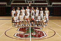 10 October 2006: Team photo: Top row (l to r): Cissy Pierce, Michelle Harrison, Morgan Clyburn, Kristen Newlin, Jayne Appel, Brooke Smith, Jillian Harmon, Christy Titchenal. Bottom Row: Markisha Coleman, JJ Hones, Clare Bodensteiner, Candice Wiggins, Melanie Murphy and Rosalyn Gold-Onwude on picture day at Maples Pavilion in Stanford, CA.