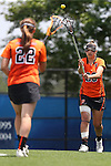 16 May 2015: Princeton's Erin McMunn (20) passes to Olivia Hompe (22). The Duke University Blue Devils hosted the Princeton University Tigers at Koskinen Stadium in Durham, North Carolina in a 2015 NCAA Division I Women's Lacrosse Tournament quarterfinal match. Duke won the game 7-3.