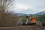 Burlington Northern & Santa Fe engines coming into Bonners Ferry, Idaho