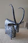 Metal animal sculpture in living room, Sanford Lake, Michigan, MI, USA