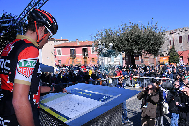 Greg Van Avermaet (BEL) BMC Racing Team at sign on before the start of Stage 4 of the 2017 Tirreno Adriatico running 187km from Montalto di Castro to Terminillo, Italy. 11th March 2017.<br /> Picture: La Presse/Gian Mattia D'Alberto | Cyclefile<br /> <br /> <br /> All photos usage must carry mandatory copyright credit (&copy; Cyclefile | La Presse)
