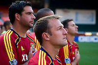 Real Salt Lake head coach Jason Kreis listens to the Star Spangled Banner before a U.S. Open Cup tournament game at RFK Stadium in Washington, DC.  D.C. United defeated Real Salt Lake, 2-1, in overtime.