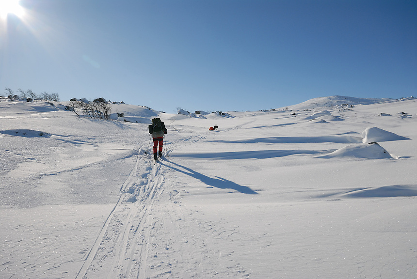 Skiing in the mountain,Sarek,Sweden