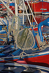 Nets and ropes on fishing boats docked in Los Cristianos harbour, Tenerife, Canary Islands.