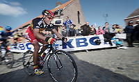 De Ronde van Vlaanderen 2012..Philippe Gilbert showing some panache up the Oude Kwaremont