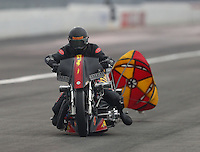 Feb 10, 2017; Pomona, CA, USA; NHRA top fuel nitro Harley rider Rickey House during qualifying for the Winternationals at Auto Club Raceway at Pomona. Mandatory Credit: Mark J. Rebilas-USA TODAY Sports