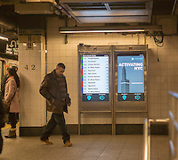 "The newly installed ""On The Go"" interactive information kiosks in the Grand Central subway station in New York on Friday, February 14, 2014. The high tech information kiosks, which resembles an iPad on steroids, are an expansion of a 2011 project that proved successful. The kiosks connect you to information regarding the subway, regional rail lines, delays, maps, etc., as well as a street map and information in the vicinity of the station aboveground. There are 17 such devices in Grand Central and additional machines in Penn Station and Times Square are expected to go online next week. The service provider is the Control Group which will eventually supply 90 kiosks while CBS Outdoor will provide 55 when they are rolled out.  (© Richard B. Levine)"