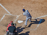 27 April 2014: San Diego Padres infielder Jace Peterson in action against the Washington Nationals at Nationals Park in Washington, DC. The Padres defeated the Nationals 4-2 to to split their 4-game series. Mandatory Credit: Ed Wolfstein Photo *** RAW (NEF) Image File Available ***