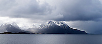 Spring snow storm over coastal mountains in Nordland county, Norway