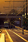 Light Rail passengers boarding train at sunset downtown Portland Oregon State USA