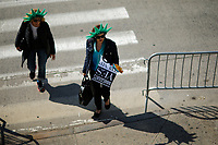 NEW YORK, NY - May 04:  Activists arrive to protest near the Intrepid Sea, Air and Space Museum before President Donald Trump arrive to city on May 04, 2017. in New York. U.S. president Trump will meet Australian Prime Minister Malcolm Turnbull on the 75th anniversary of the Battle of the Coral Sea by US and Australian forces against the Japanese In New York City. Photo by VIEWpress/Eduardo MunozAlvarez