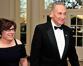 United States Senator Charles Schumer (Democrat of New York) and his wife, Iris Weinshall, arrive for the Official Dinner in honor of Prime Minister David Cameron of Great Britain and his wife, Samantha, at the White House in Washington, D.C. on Tuesday, March 14, 2012..Credit: Ron Sachs / CNP.(RESTRICTION: NO New York or New Jersey Newspapers or newspapers within a 75 mile radius of New York City)