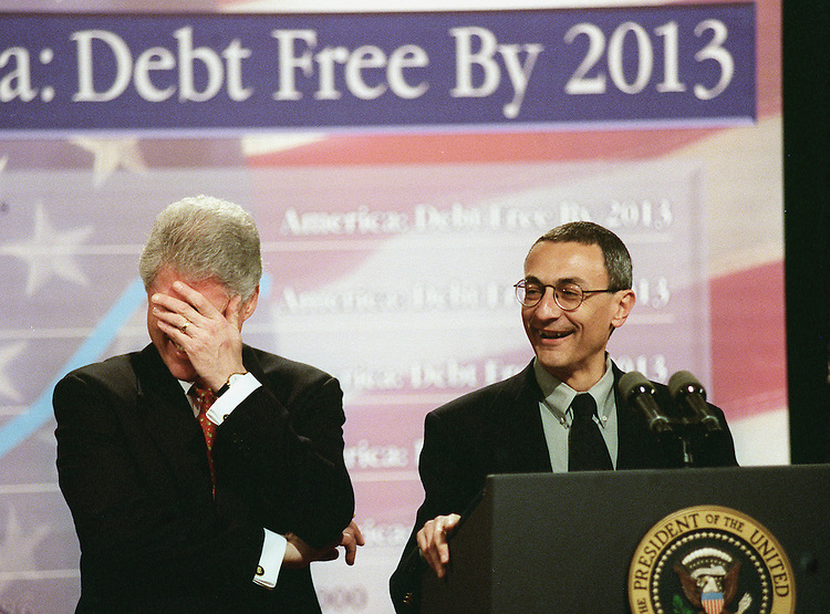 2/7/00.BUDGET -- President Bill Clinton and Deputy Chief of Staff John D. Podesta, share a laugh during the announcement of the budget at the White House..CONGRESSIONAL QUARTERLY PHOTO BY DOUGLAS GRAHAM...