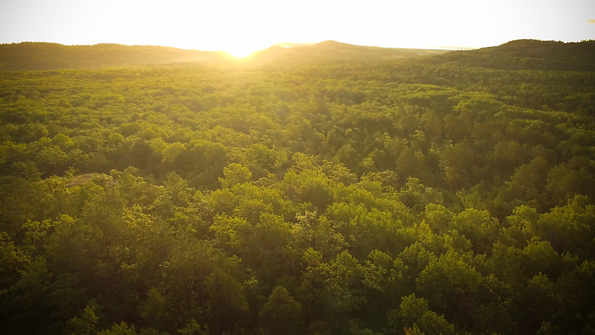 Aerial view of the Hogback Mountain area near Marquette, Michigan.