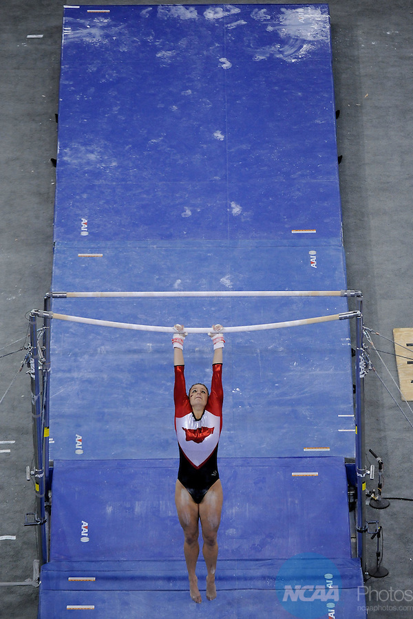 21 APR 2012: Katherine Grable of the University of Arkansas performs on the uneven bars during the Division I Women's Gymnastics Championship held at the Gwinnett Center Arena in Duluth, GA. Alabama placed first with a team score of 197.850. Joshua Duplechian/NCAA Photos