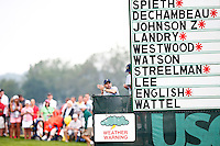 A weather warning sign is displayed during play near the 1st green during the 2016 U.S. Open in Oakmont, Pennsylvania on June 16, 2016. (Photo by Jared Wickerham / DKPS)