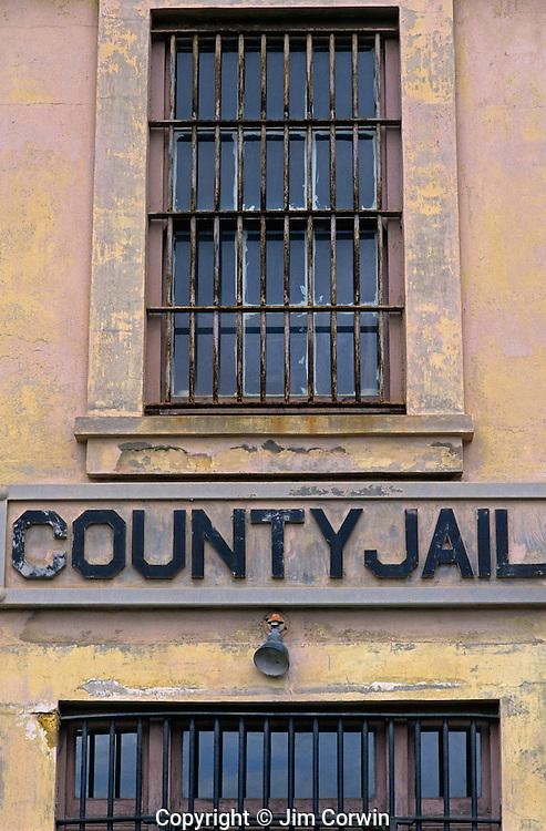 Astoria County jail prison facility bars on windows downtown Astoria Oregon State USA
