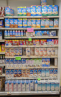 Organic and non-organic, milk and milk substitutes, all in sterile packaging in a supermarket in New York on Friday, December 25, 2015. (© Richard B. Levine)
