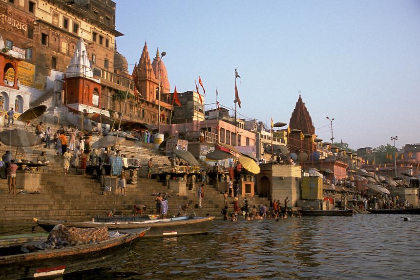 India, Uttar Pradesh, Varanasi, Ganges River, ghats & early morning bathers