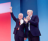 Labour Conference, Brighton, Great Britain <br /> 28th September 2015 <br /> <br /> Jeremy Corbyn MP <br /> watches as <br /> <br /> John McDonnell , shadow Chancellor speaks <br /> <br /> <br /> Photograph by Elliott Franks <br /> Image licensed to Elliott Franks Photography Services