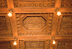 California, San Luis Obispo County: Hearst Castle State Park, formerly the palatial hillside home of publisher William Randoph Hearst.  Ornate wooden ceiling; .Photo caluis215-70952..Photo copyright Lee Foster, www.fostertravel.com, 510-549-2202, lee@fostertravel.com