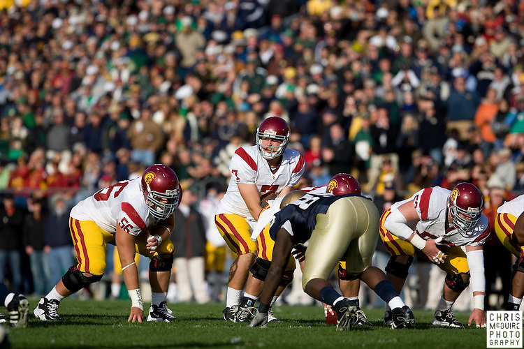 10/17/09 - South Bend, IN:  USC quarterback Matt Barkley against Notre Dame at Notre Dame Stadium on Saturday.  USC won the game 34-27 to extend its win streak over Notre Dame to 8 games.  Photo by Christopher McGuire.
