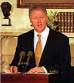 United States President Bill Clinton announces the appointment of Sandra L. Thurman as Director of the Office of National AIDS Policy in the Roosevelt Room of the White House in Washington, D.C. on April 7, 1997..Credit: Ron Sachs / CNP