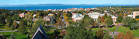Panorama of The Waterman Building, Burlington and Lake Champlain, Fall UVM Campus