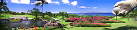 Golf Course, hand holding ball, tee, Panorama, Golfing CGI Backgrounds, ,Beautiful Background