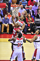 Wizards' Kevin Seraphin attempts to block Ray Allen of the Heat's layup. Washington Wizards defeated the Miami Heat 105-101 at the Verizon Center in Washington, D.C. on Tuesday, December 4, 2012.   Alan P. Santos/DC Sports Box