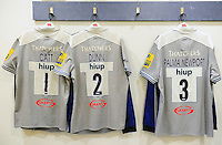 A general view of the Bath Rugby front row jerseys hung up in the changing rooms prior to the match. Aviva Premiership match, between Harlequins and Bath Rugby on November 27, 2016 at the Twickenham Stoop in London, England. Photo by: Patrick Khachfe / Onside Images