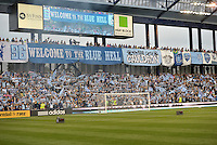 KANSAS CITY, KS - June 1, 2013:<br /> Sporting KC fans waving flags prior to the kick off.<br /> Montreal Impact defeated Sporting Kansas City 2-1 at Sporting Park.