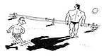 (A beach scene where a weedy man kicks sand on the shadow of a muscular bodybuilder)