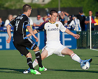 Santa Clara, California - Saturday July 14, 2012: Real Salt Lake's WIll Johnson and San Jose Earthquakes' Sam Cronin during a game at Buck Shaw Stadium, Stanford, Ca     San Jose Earthquakes defeated Real Salt Lake 5 - 0..