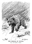 "The Promise of Winter. Russia. ""My season, I think."" (the Russian bear prowls in a snow storm near a German soldier's hemet and abandoned artillery gun during WW1)"