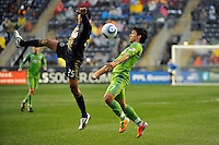 Fredy Montero (17) of the Seattle Sounders FC plays the ball. The Philadelphia Union and the Seattle Sounders FC played to a 1-1 tie during a Major League Soccer (MLS) match at PPL Park in Chester, PA, on April 16, 2011.