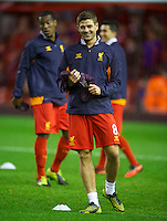 LIVERPOOL, ENGLAND - Thursday, October 4, 2012: Liverpool's captain Steven Gerrard warms-up before the UEFA Europa League Group A match against Udinese Calcio at Anfield. (Pic by David Rawcliffe/Propaganda)