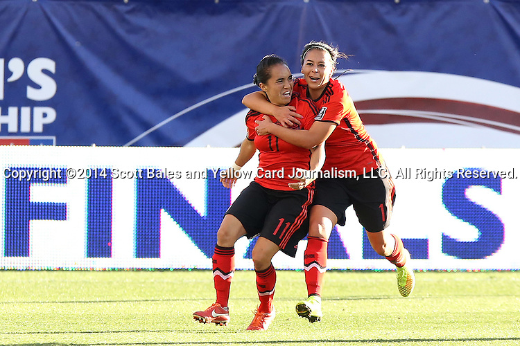 26 October 2014: Monica Ocampo (MEX) (11) celebrates scoring the equalizing goal with Veronica Perez (MEX) (17). The Trinidad & Tobago Women's National Team played the Mexico Women's National Team at PPL Park in Chester, Pennsylvania in the 2014 CONCACAF Women's Championship Third Place game. Mexico won the game 4-2 after extra time. With the win, Mexico qualified for next year's Women's World Cup in Canada and Trinidad & Tobago face playoff for spot against Ecuador.