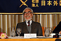 Animated Film Director Hayao Miyazaki speaks and answers to questions by foreign media and journalists at the FCCJ (Foreign Correspondents' Club of Japan), November 20, 2008.