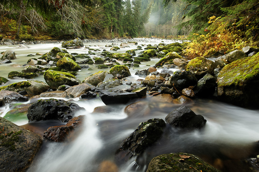 Twentytwo Creek spilling into South Fork Stillaguamish River, Mountain Loop Highway, Snohomish County, Washington Cascade Mountains