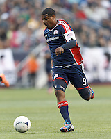 New England Revolution forward Jose Moreno (9) on the attack. In a Major League Soccer (MLS) match, the New England Revolution tied the Columbus Crew, 0-0, at Gillette Stadium on June 16, 2012.