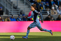 Graham Zusi (8) of Sporting Kansas City. Sporting Kansas City defeated the Philadelphia Union 2-1 during a Major League Soccer (MLS) match at PPL Park in Chester, PA, on October 26, 2013.