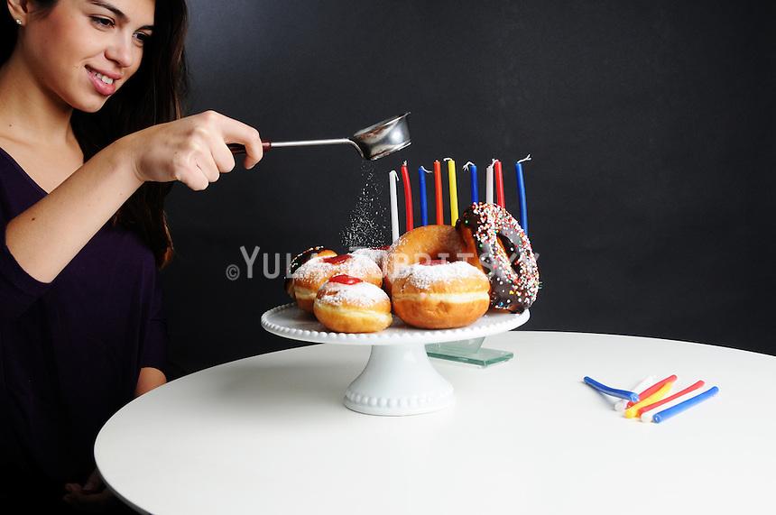 Hanukkah - donuts and candles