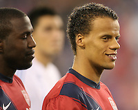 Jozy Altidore(17) with Timothy Chandler(21) of the USA MNT during an international friendly match against Paraguay at LP Field, in Nashville, TN. on March 29, 2011.Paraguay won 1-0.