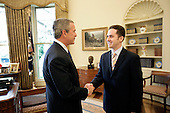 "United States President George W. Bush welcomes Jason Kamras, the 2005 National Teacher of the Year, to the Oval Office during ceremonies Wednesday, April 20, 2005, at the White House in Washington, D.C.  Mr. Kamras, originally from Sacramento, California, is a 1996 graduate of Princeton University. While in college he worked as an AmeriCorps Volunteer in Service to America (VISTA) teacher.  Following graduation, he joined Teach for America at John Philip Sousa Middle School in Washington, D.C.   He has remained at Sousa since then, with time off in 1999-2000 to earn a Master's degree from Harvard.  He teaches seventh and eighth grade math.  ""Teaching is a commitment to equity and opportunity for all children,"" says Mr. Kamras.  ""It is a promise of a better future for those who have been left behind... .Mandatory Credit: Eric Draper / White House via CNP"